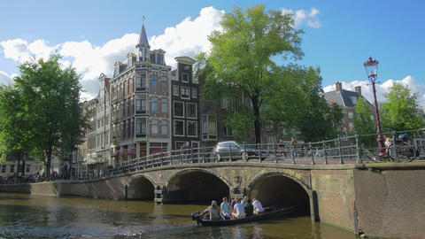 Canal In Amsterdam, Holland, 4k UHD stock footage