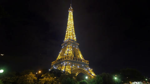 Eiffel Tower At Night stock footage
