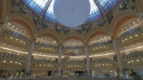 Galeries Lafayette Shopping Mall, Paris, France stock footage