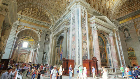 Interior Of St. Peter's Basilica, Vatican, Italy stock footage