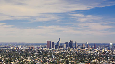 Los Angeles downtown, bird's eye view at sunny day, timelapse Footage