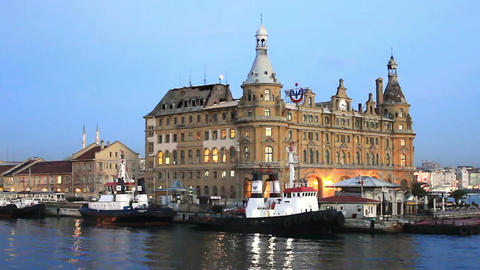 Haydarpasa Central Station Building In Istanbul stock footage