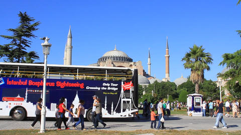 Tourist buses in front of Hagia Sophia Footage