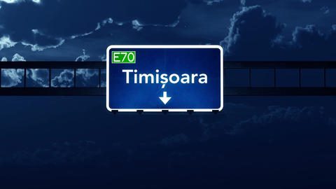 4K Passing Timisoara Romania Highway Sign at Night with Matte 2 stylized Animation