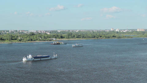 Passenger ship on the river Footage