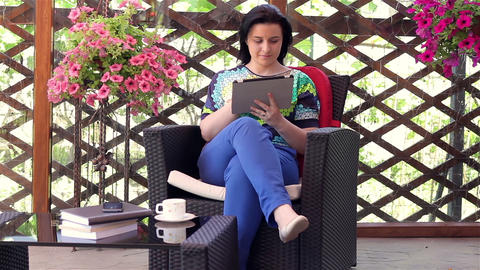 Young Woman Using Tablet Computer Outside stock footage