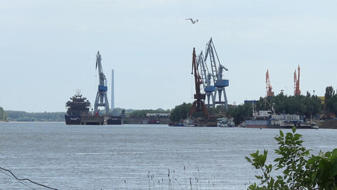 Danube Port Cranes stock footage