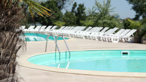 Hotel Sunny Poolside stock footage
