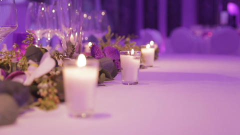 Table Set For An Event Party Or Wedding Reception stock footage