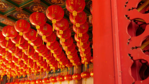 4K Video : Chinese Paper Lanterns Behind The Door On Chinese New Year Celebratio stock footage