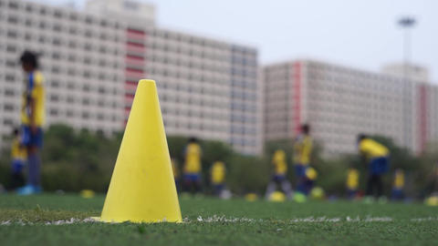 Football team practicing in field Footage