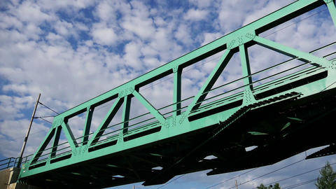 Iron Railway Bridge and Sky Footage