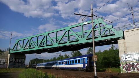 Passenger Train Under the Bridge Footage