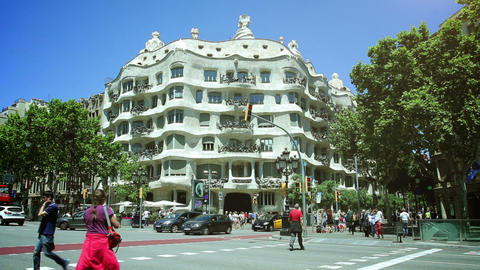 BARCELONA, SPAIN - JUN 01: Casa Mila, Designed By Antoni Gaudi, On June 31, 2015 stock footage