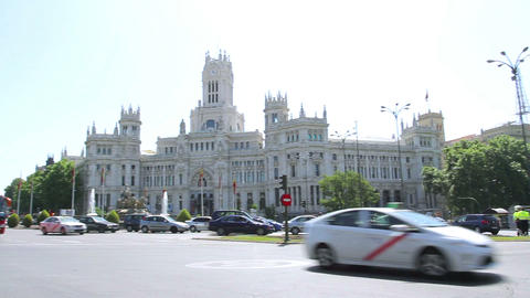 Plaza De La Cibeles (Cybele's Square) - Central Post Office (Palacio De Comunica stock footage