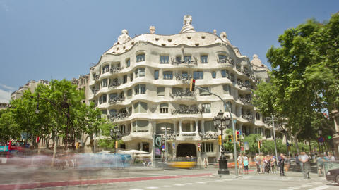 BARCELONA, SPAIN - MAY 15 Architecture Detail Of Casa Mila, Better Known As La P stock footage