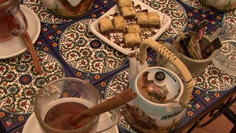 Tea Table East. Cinnamon Stick. Israel stock footage