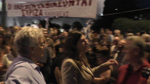 Greek parliament president with protesters Footage