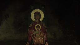 Eastern Orthodox Icon Of Blessed Virgin Mary With Jesus Christ stock footage