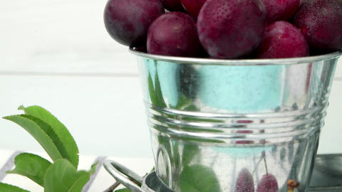 Plums in small metal bucket Footage