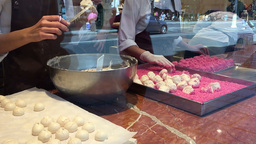 Making French Meringues stock footage