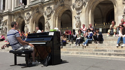 People Applude A Pianist In Paris stock footage