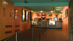 A Small Snack Bar In A Local Movie House stock footage