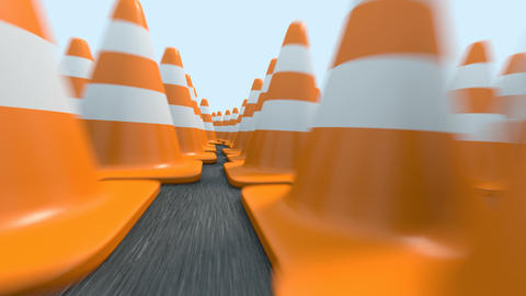 Endless Traffic Cones Flight stock footage