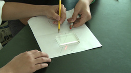 Student drawing square on paper Footage