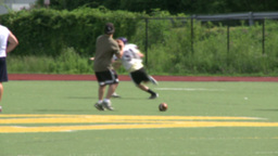 High School Football Team Practicing Receiving (4 Of 5) stock footage