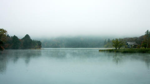 Lodge At Misty Lake stock footage