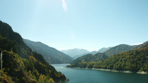Lake Kurobe Sunny Day stock footage