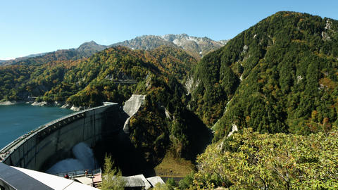Kurobe Dam And Mountains stock footage