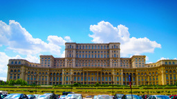 Romanian Parliament Or People's House In Bucharest, Romania.Time Lapse, Zoom In stock footage