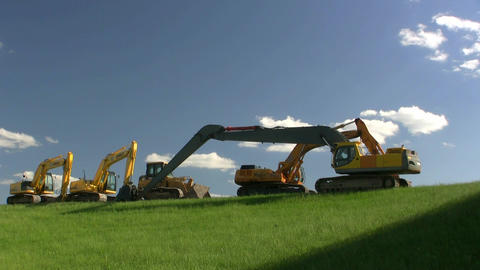Construction Equipment At Rest stock footage