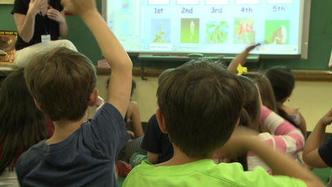 Children Participating In Class (3 Of 4) stock footage
