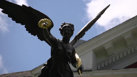 Statue Of Woman With Wreath And Wings (3 Of 4) stock footage