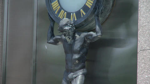 Atlas Clock At Tiffany's stock footage