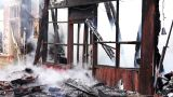 fire in wooden house Footage