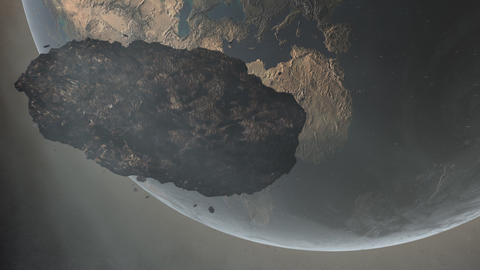 Asteroid Over Earth Animation