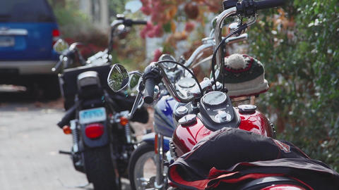 Several Motorcycles Parked On Side Road (1 Of 2) stock footage