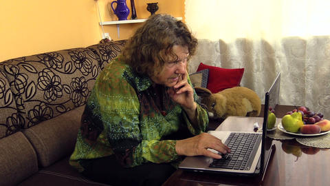 Elderly Woman Working With Laptop Notebook Computer At Home stock footage