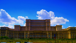 Romanian Parliament or People's House in Bucharest, Romania.Time lapse, Tilt Footage