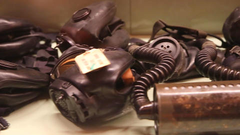 Vietnam War Gas Masks stock footage