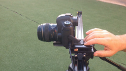 Shooting Video Using DSLR Slider stock footage
