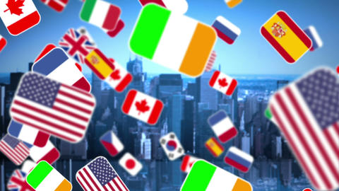 Zoom In National Flag On City Background stock footage