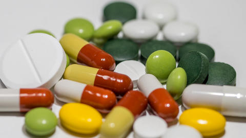 Assorted Pills, Capsules And Tablets stock footage