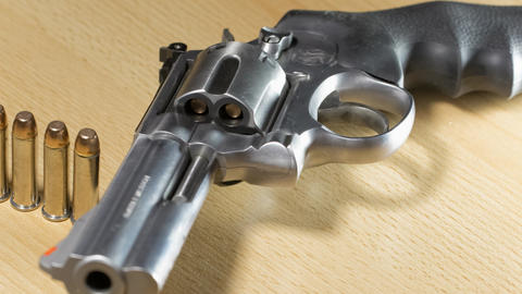 Stainless Steel Revolver Caliber 357 Magnum stock footage