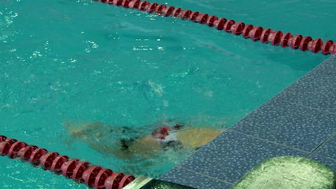 Professional Sportswoman Swimming Breaststroke In A Lap Pool stock footage