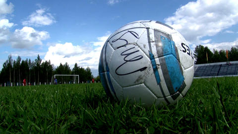 Soccer Football Ball On The Field stock footage